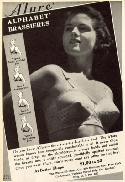 A 1938 advertisement for the Warner Brother's Co. ABCD sizing of bra cups, which shows a woman wearing a bra, looking off into the distance. Bra cups illustration image
