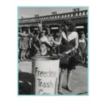 Women throwing feminine objects in a Freedom Trash Can in 1968